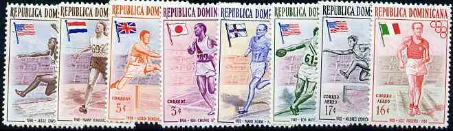 Dominican Republic 1957 Melbourne Olympic Games (1st Issue) Famous Athletes unmounted mint complete set of 8, SG 667-75*
