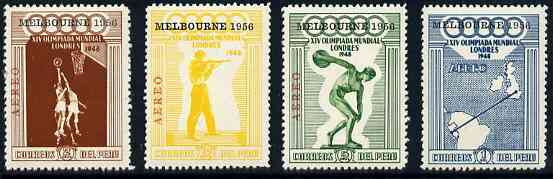 Peru 1956 Melbourne Olympic Games unmounted mint set of 4 (on sale for 1 day only, see note after SG 717)