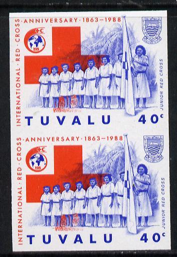 Tuvalu 1988 Red Cross 40c imperf vert pair unmounted mint, as SG 519
