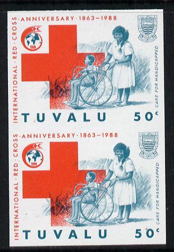 Tuvalu 1988 Red Cross 50c imperf vert pair unmounted mint, as SG 520