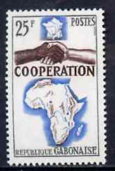 Gabon 1964 French, African & Malagasy Co-operation 25f unmounted mint, SG 221, stamps on maps