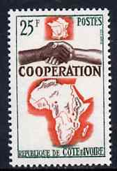 Ivory Coast 1964 French, African & Malagasy Co-operation 25f unmounted mint, SG 250