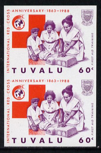 Tuvalu 1988 Red Cross 60c imperf vert pair unmounted mint, as SG 521