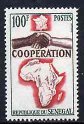 Senegal 1964 French, African & Malagasy Co-operation 100f unmounted mint, SG 286