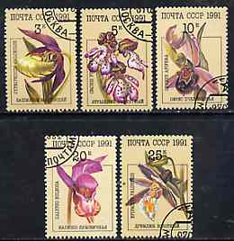 Russia 1991 Orchids complete set of 5 fine cto used, SG 6247-51, Mi 6192-96*