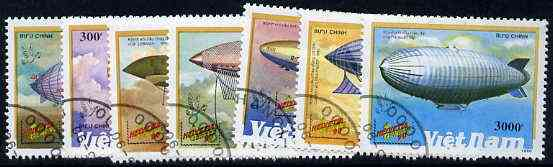 Vietnam 1990 'Helvetia 90' Stamp Exhibition (Airships) complete set of 7 fine cto used, SG 1430-36*