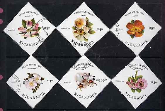 Nicaragua 1986 Wild Roses complete diamond shaped set of 6 very fine cto used, SG 2718-23*