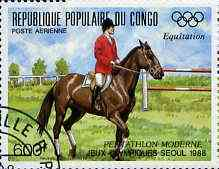 Congo 1988 Equestrian 600f from Seoul Olympics (2nd Issue) very fine cto used, SG 1124*