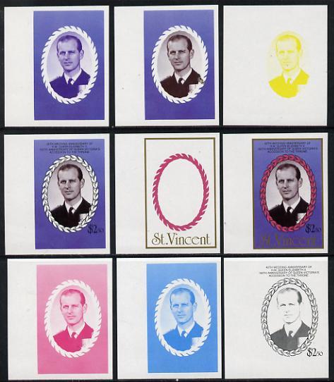 St Vincent 1987 Ruby Wedding $2.50 (Duke of Edinburgh) set of 9 imperf progressive proofs comprising 4 individual colours plus various composites (as SG 1082) unmounted mint