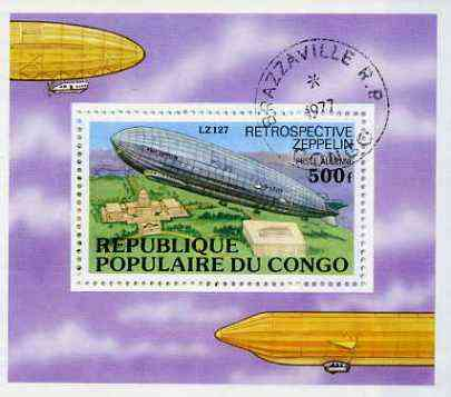 Congo 1977 History of the Zeppelin m/s very fine cto used, SG MS 572