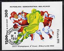 Malagasy Republic 1991 Albertville Winter Olympics imperf m/sheet (Ice Hockey) very fine cto used
