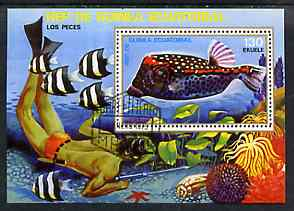 Equatorial Guinea 1975 Fish (Diver on Sea Bottom) 130ek perf m/sheet very fine cto used