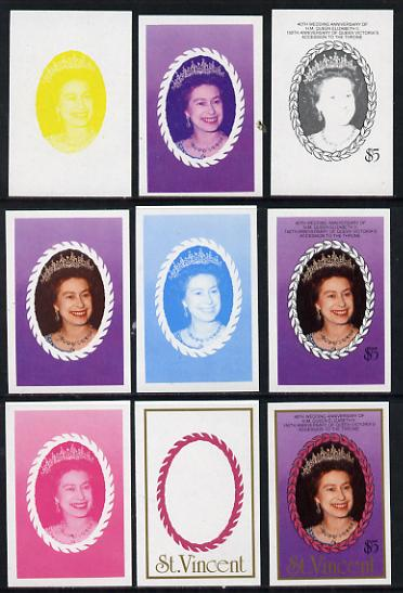 St Vincent 1987 Ruby Wedding $5 (The Queen) set of 9 imperf progressive proofs comprising 4 individual colours plus various composites (as SG 1083) unmounted mint