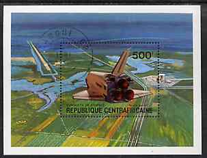Central African Republic 1981 Conquest of Space (Space Shuttle) perf m/sheet cto used, SG MS 756