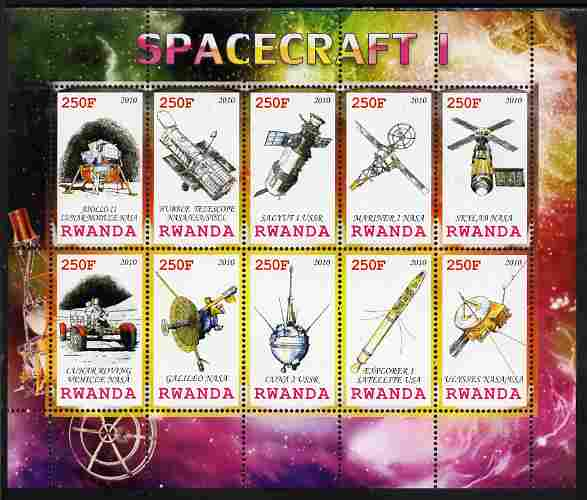 Rwanda 2010 Spacecraft #01 perf sheetlet containing 10 values unmounted mint