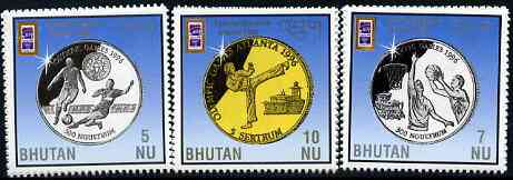 Bhutan 1996 Atlanta Olympic Games (Medals) perf set of 3 unmounted mint SG 1101-3
