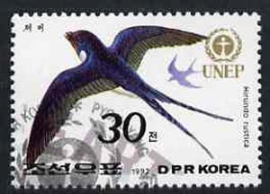 North Korea 1992 Swallow 30ch from World Environment Day set of 8 fine cto used, SG N3201*