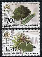 North Korea 1992 Trees (70ch & 1w20) from World Environment Day set of 8 fine cto used, SG N3204 & 3206*