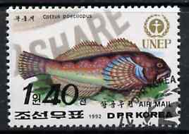 North Korea 1992 Sculpin Fish 1w40 from World Environment Day set of 8 fine cto used, SG N3207*