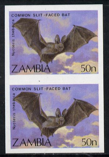 Zambia 1989 Slit-faced Bat 50n unmounted mint IMPERF pair (as SG 571)