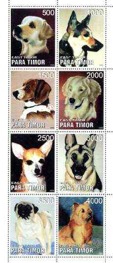 Timor (East) 1999 Dogs perf sheetlet containing complete set of 8 unmounted mint