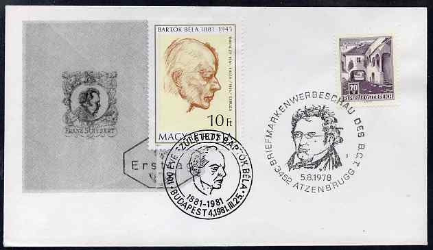 Austria & Hungary 1978-81 combination cover for Robert Stolz & Franz Schubert with appropriate special cancels