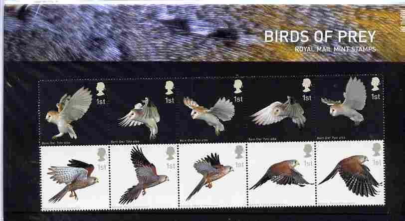 Great Britain 2003 Birds of Prey set of 10 in se-tenant block in official presentation pack SG 2327a