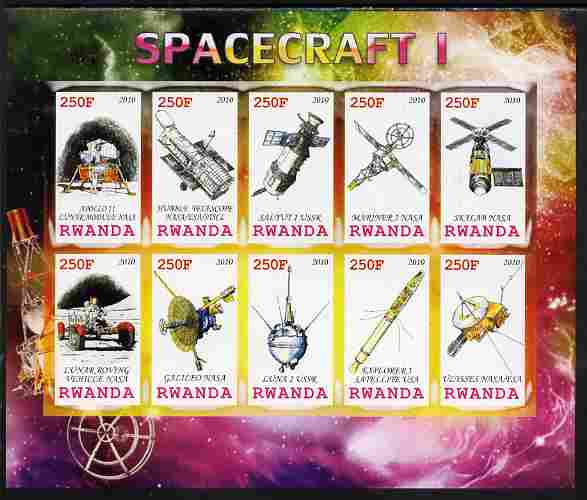 Rwanda 2010 Spacecraft #01 imperf sheetlet containing 10 values unmounted mint