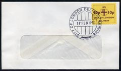 Cinderella - Great Britain 1971 Strike Post - window envelope bearing 10p \D4City of London Delivery\D5 yellow adhesive tied by COL date stamp for 17th February
