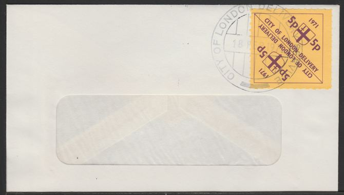 Cinderella - Great Britain 1971 Strike Post - window envelope bearing pair 5p triangular \D4City of London Delivery\D5 yellow adhesives tied by COL date stamp for 18th Fe...