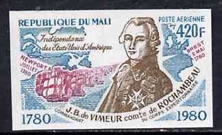 Mali 1980 Rochambeau & French Fleet 420f IMPERF from Bicentenary of American Revolution set unmounted mint, SG 782var