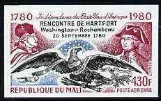 Mali 1980 Washington, Rochambeau & Eagle 430f IMPERF from Bicentenary of American Revolution set unmounted mint, SG 783var