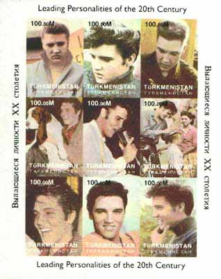 Turkmenistan 1998 Leading Personalities of the 20th Century (Elvis Presley) imperf sheetlet containing complete set of 9 values unmounted mint