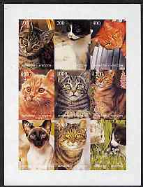 Kyrgyzstan 1998 Domestic Cats imperf sheetlet containing complete set of 9 values