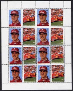 Bernera 1997 Michael Schumacher perf sheetlet containing 8 se-tenant pairs (as 25969) unmounted mint