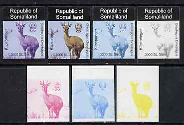 Somaliland 1997 Klipspringer 3,000 SL (from Animal def set) set of 7 imperf progressive proofs comprising the 4 individual colours plus 2, 3 and all 4-colour composites unmounted mint