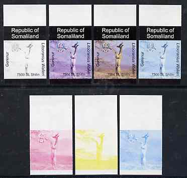 Somaliland 1997 Gerenur 7,500 SL (from Animal def set) set of 7 imperf progressive proofs comprising the 4 individual colours plus 2, 3 and all 4-colour composites unmounted mint