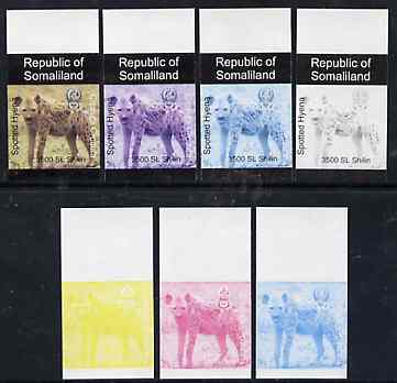 Somaliland 1997 Hyena 3,500 SL (from Animal def set) set of 7 imperf progressive proofs comprising the 4 individual colours plus 2, 3 and all 4-colour composites unmounted mint
