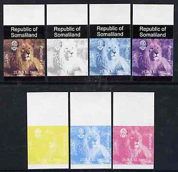 Somaliland 1997 Lion 25,000 SL (from Animal def set) set of 7 imperf progressive proofs comprising the 4 individual colours plus 2, 3 and all 4-colour composites unmounted mint