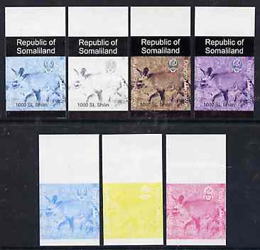 Somaliland 1997 Bat-Eared Fox 1,000 SL (from Animal def set) set of 7 imperf progressive proofs comprising the 4 individual colours plus 2, 3 and all 4-colour composites unmounted mint