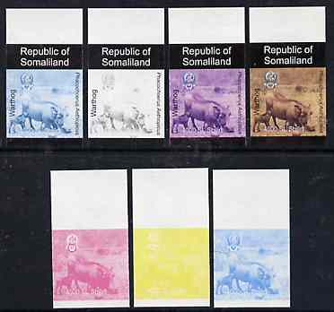 Somaliland 1997 Warthog 4,000 SL (from Animal def set) set of 7 imperf progressive proofs comprising the 4 individual colours plus 2, 3 and all 4-colour composites unmounted mint