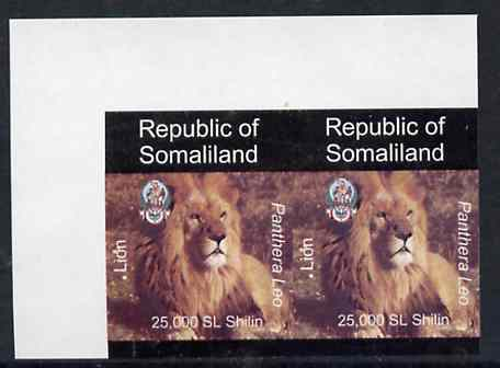 Somaliland 1997 Lion 25,000 SL (from Animal def set) unmounted mint imperf pair