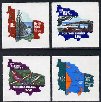 Norfolk Island 1974 UPU Centenary self-adhesive set of 4 in shape of Map unmounted mint, SG 158-61*