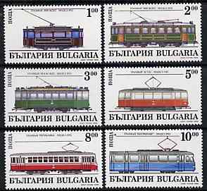 Bulgaria 1994 Trams complete set of 6 unmounted mint, SG 3997-4002, Mi 4144-49*, stamps on railways, stamps on trams, stamps on buses, stamps on transport