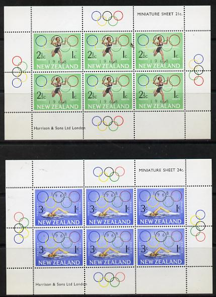 New Zealand 1968 Health - Olympics  set of 2 m/sheets unmounted mint (SG MS 889)