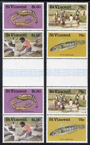 St Vincent 1986 Freshwater Fishing 2 x sets of 4 in se-tenant gutter pairs unmounted mint SG 1045-48