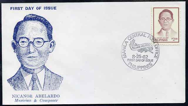Philippines 1982 Nicanor Abelardo (composer) Commemoration illustrated cover with special cancel