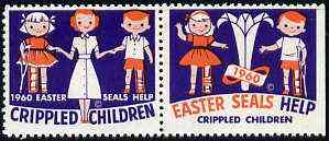 Cinderella - United States 1960 Crippled Children Easter Seals, fine mint set of 2 showing crippled boy & girl unmounted mint