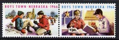 Cinderella - United States 1966 Boys Town, Nebraska fine mint set of 2 labels showing boys playing Ice Hockey & reading
