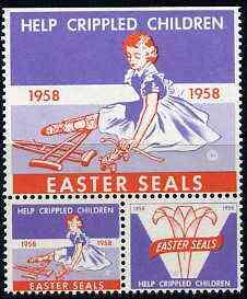 Cinderella - United States 1958 Crippled Children Easter Seals, fine unmounted mint set of 2 labels showing crippled girl with skates